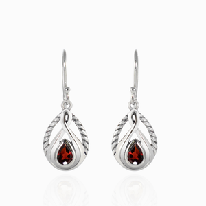 Cable Design 925 Sterling Silver Earring with Genuine Gemstone