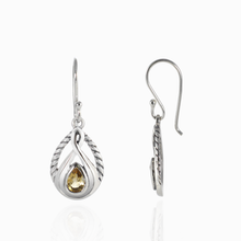 Load image into Gallery viewer, Cable Design 925 Sterling Silver Earring with Genuine Gemstone