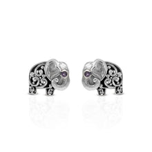 Load image into Gallery viewer, Elephant stud earrings with purple cubic zirconia set in 925 sterling silver ,beautiful earstud for women - SUVARNASILVERCO.,LTD