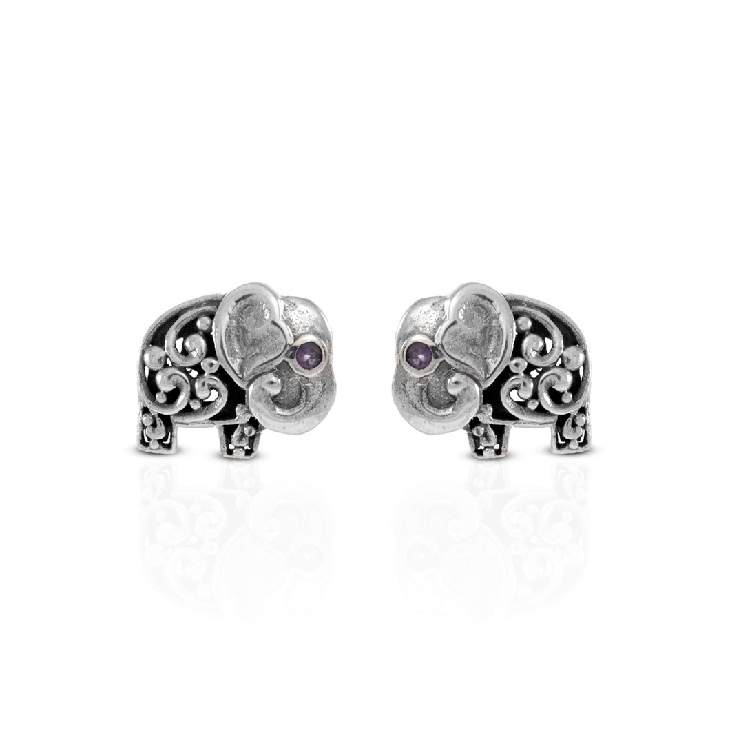 Elephant stud earrings with purple cubic zirconia set in 925 sterling silver ,beautiful earstud for women - SUVARNASILVERCO.,LTD