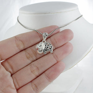 Elephant pendant with red cubic zirconia set in 925 sterling silver ,beautiful pendant for women - SUVARNASILVERCO.,LTD