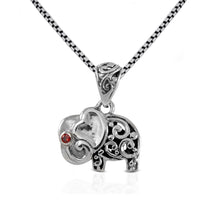 Load image into Gallery viewer, Elephant pendant with red cubic zirconia set in 925 sterling silver ,beautiful pendant for women - SUVARNASILVERCO.,LTD