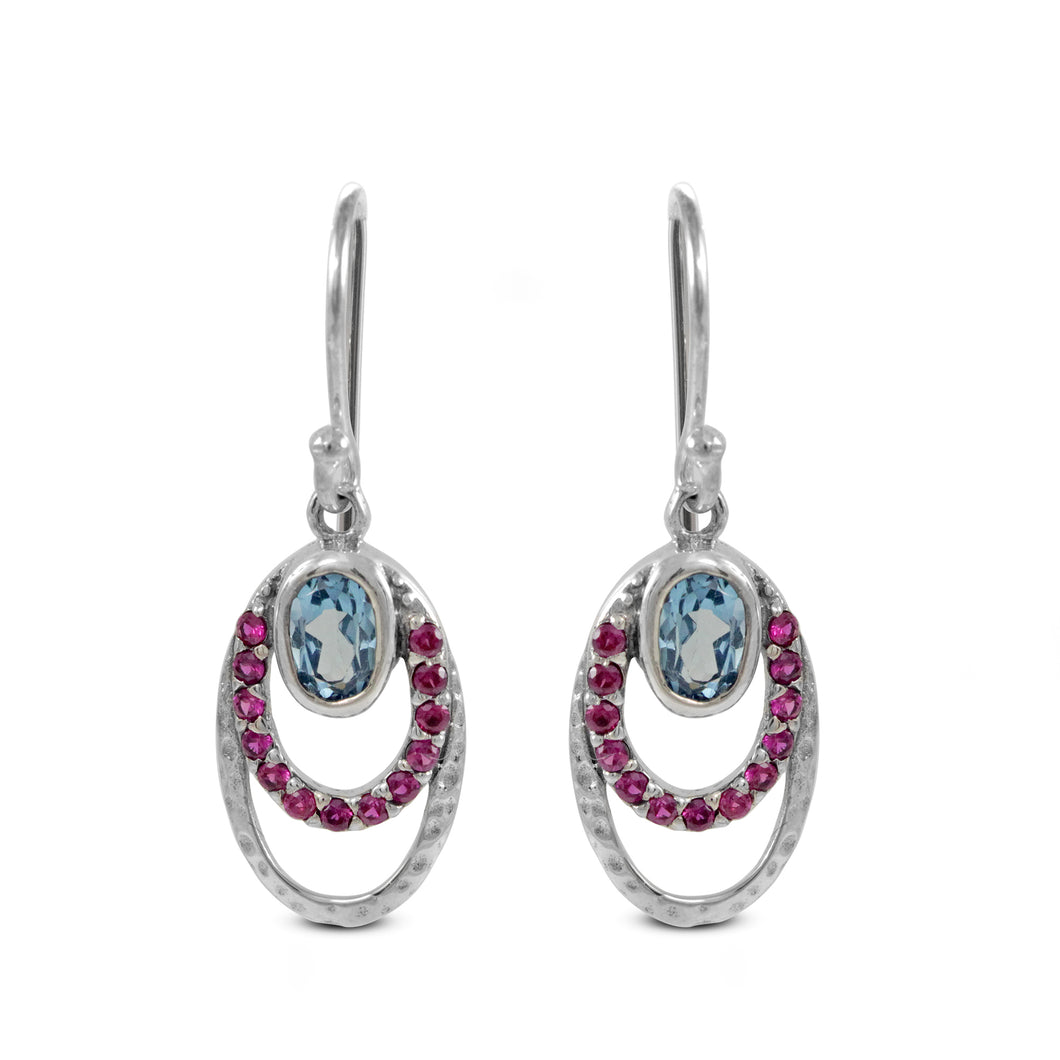Hammered Earring with Genuine Blue Topaz and Pink Cubic Zirconia set in 925 Sterling Silver