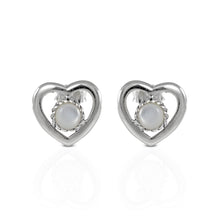 Load image into Gallery viewer, Natural white shell set in 925 sterling silver, heart shape stud earrings,beautiful stud earrings for women - SUVARNASILVERCO.,LTD