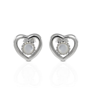 Natural white shell set in 925 sterling silver, heart shape stud earrings,beautiful stud earrings for women - SUVARNASILVERCO.,LTD