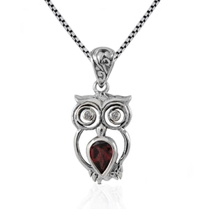 Owl pendant with genuine garnet and black cubic zirconia set in 925 sterling silver, beautiful pendant for women - SUVARNASILVERCO.,LTD