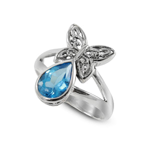 Butterfly Carving ring with natural swiss blue topaz set in 925 sterling silver, beautiful ring for women - SUVARNASILVERCO.,LTD