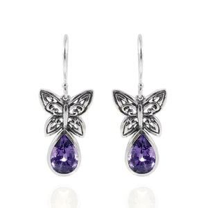 Butterfly Carving Earring with Genuine Gems Stone set in 925 sterling silver