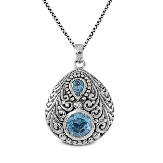 Filigree Bali design pendant with genural blue topaz set in 925 sterling silver, beautiful pendant for women - SUVARNASILVERCO.,LTD