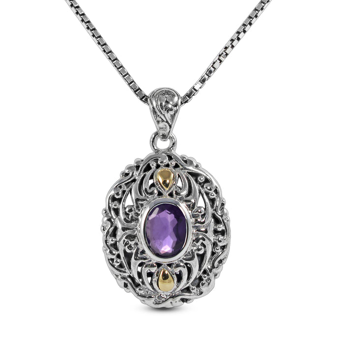 Filigree design pendant with genuine amethyst and two tone gold set in 925 Sterling silver pendant, beautiful pendant for woman - SUVARNASILVERCO.,LTD