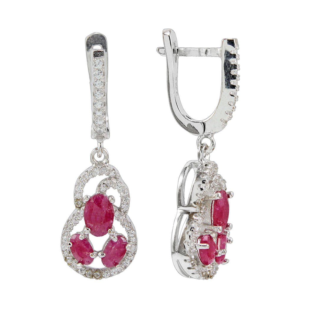 Bottle guard calabash earrings with genuine ruby and white cubic circonia set in 925 sterling silver, beautiful dangle earring for women - SUVARNASILVERCO.,LTD
