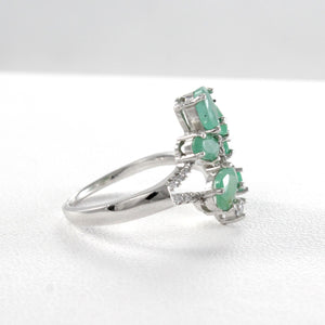 Friendship ring with genuine emerald and white cubic zirconia set in 925 sterling silver, beautiful ring for women - SUVARNASILVERCO.,LTD