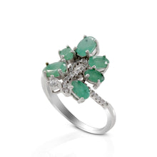 Load image into Gallery viewer, Friendship ring with genuine emerald and white cubic zirconia set in 925 sterling silver, beautiful ring for women - SUVARNASILVERCO.,LTD