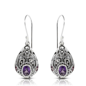 filigree bali design dangle earring with genural amethyst and pink cubic zircornia set in 925 sterling silver - SUVARNASILVERCO.,LTD