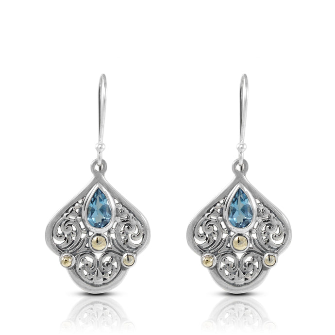 filigree bali design dangle earrings with genuine blue topaz and two tone gold 18 k set in 925 sterling silver, - SUVARNASILVERCO.,LTD