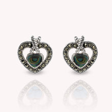 Load image into Gallery viewer, Genuine touquis with marcasite set in 925 sterling silver heart love stud earrings, beautiful stud earring for woman - SUVARNASILVERCO.,LTD