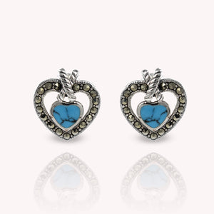 Genuine touquis with marcasite set in 925 sterling silver heart love stud earrings, beautiful stud earring for woman - SUVARNASILVERCO.,LTD