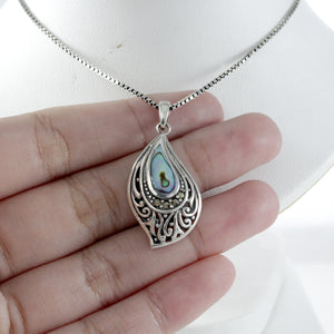 Filigree on Ocean Design 925 Sterling Silver Pendant with Mother Pearl of Shell - SUVARNASILVERCO.,LTD