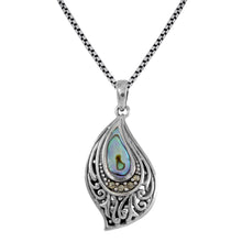 Load image into Gallery viewer, Filigree on Ocean Design 925 Sterling Silver Pendant with Mother Pearl of Shell - SUVARNASILVERCO.,LTD