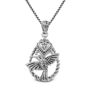 Flying bird pendant with cable design set in 925 sterling silver - SUVARNASILVERCO.,LTD