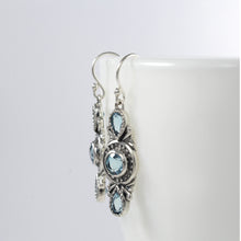 Load image into Gallery viewer, Three stone earrings with genuine blue topaz set in 925 Sterling Silver beautiful dangle earrings for women - SUVARNASILVERCO.,LTD