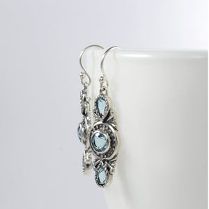 Three stone earrings with genuine blue topaz set in 925 Sterling Silver beautiful dangle earrings for women - SUVARNASILVERCO.,LTD
