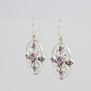 Thai Design Earring 925 Sterling Silver with Cubic Zirconia