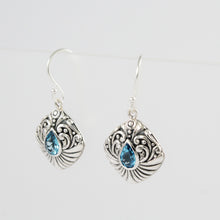 Load image into Gallery viewer, Bali Filigree Earring Design 925 Sterling Silver with Genuine Blue Topaz Stone