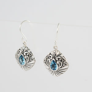 Bali Filigree Earring Design 925 Sterling Silver with Genuine Blue Topaz Stone