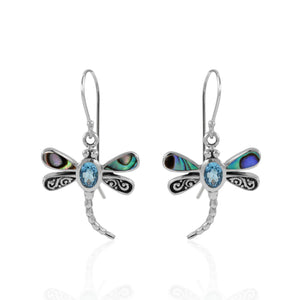 Dragonfly Carving Bali Design 925 Sterling Silver with Genuine Gemstone with Color Shell