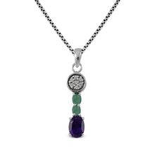 Load image into Gallery viewer, Pendant mixed stone, 925 sterling silver pendant with CZ stone - SUVARNASILVERCO.,LTD