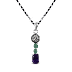 Pendant mixed stone, 925 sterling silver pendant with CZ stone - SUVARNASILVERCO.,LTD