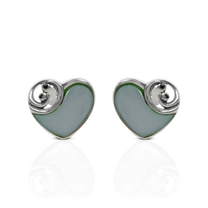 Heart Of Ocean Design 925 Sterling Silver Ear Stud with Mother Pearl of Shell - SUVARNASILVERCO.,LTD