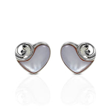 Load image into Gallery viewer, Heart Of Ocean Design 925 Sterling Silver Ear Stud with Mother Pearl of Shell - SUVARNASILVERCO.,LTD