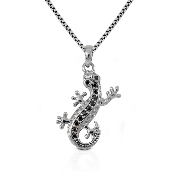 lizard pendant with white cubic zirconia set in 925 sterling silver ,beautiful pendant for women - SUVARNASILVERCO.,LTD