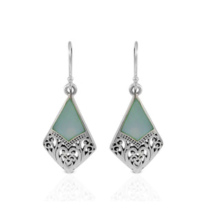 Filigree design with natural blue shell earring set in 925 sterling silver - SUVARNASILVERCO.,LTD