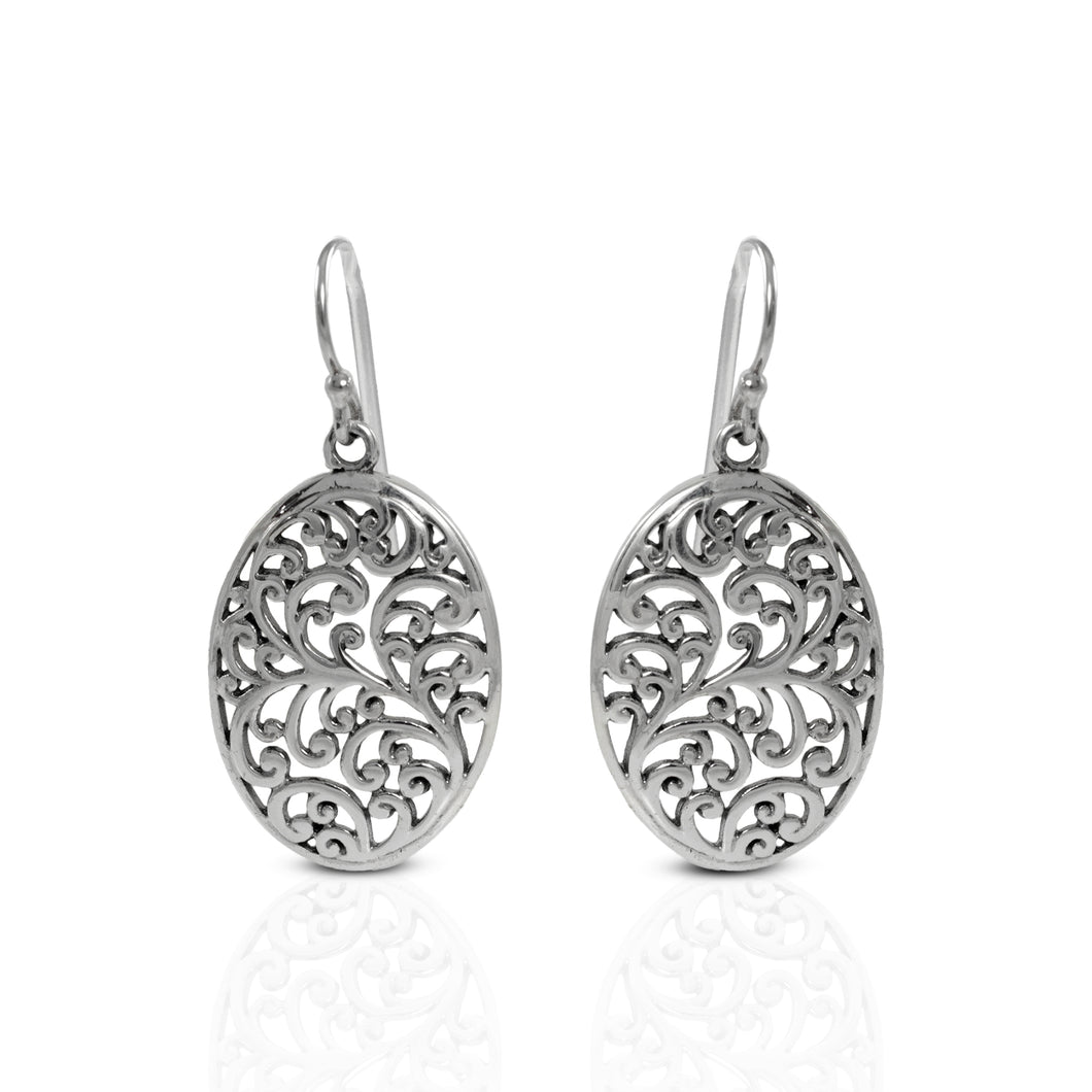 Daun Bali Design 925 Sterling Plain Silver Earring - SUVARNASILVERCO.,LTD