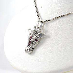 Giraffe represents elegance design with red cubic zirconia set in 925 sterling silver pendant, beautiful pendant for women - SUVARNASILVERCO.,LTD