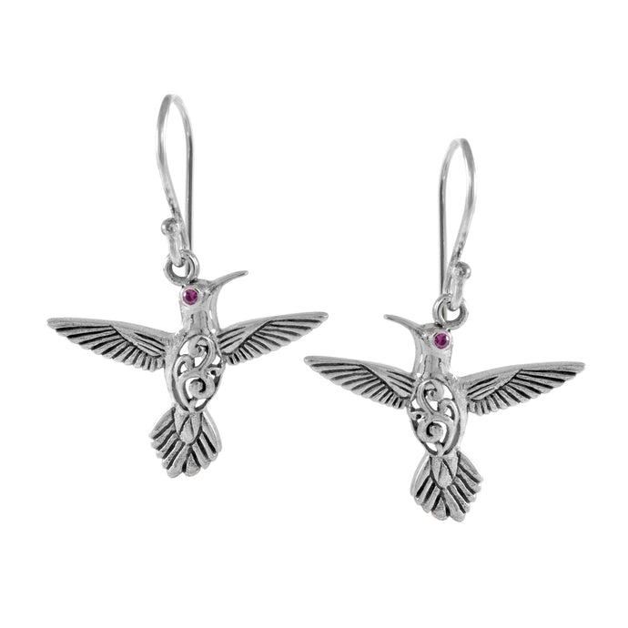 Flying bird earring with pink cubic zirconia set in 925 sterling silver ,beautiful pendant for women - SUVARNASILVERCO.,LTD