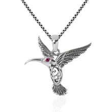 Load image into Gallery viewer, Hummingbird Pendant with red cubic zirconia set in 925 Sterling silver dangle drop pendant, beautiful pendant for woman - SUVARNASILVERCO.,LTD