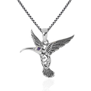 Hummingbird Pendant with red cubic zirconia set in 925 Sterling silver dangle drop pendant, beautiful pendant for woman - SUVARNASILVERCO.,LTD