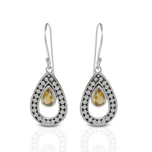 Teardrop dangle hook earrings with round dot carving and genuine citrine set in 925 sterling silver, beautiful earring for women - SUVARNASILVERCO.,LTD