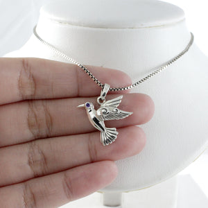 Flying bird pendant with red cubic zirconia set in 925 sterling silver ,beautiful pendant for women - SUVARNASILVERCO.,LTD