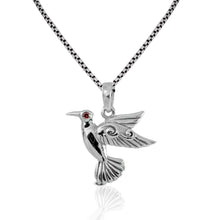 Load image into Gallery viewer, Flying bird pendant with red cubic zirconia set in 925 sterling silver ,beautiful pendant for women - SUVARNASILVERCO.,LTD