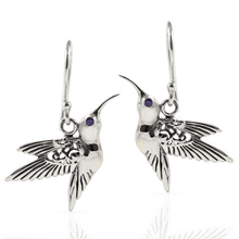 Load image into Gallery viewer, Hummingbird Pendant with Cubic Zirconia set in 925 Sterling Silver Dangle Drop Earring