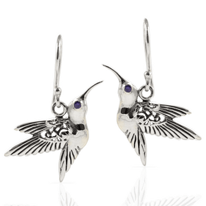 Hummingbird Pendant with Cubic Zirconia set in 925 Sterling Silver Dangle Drop Earring