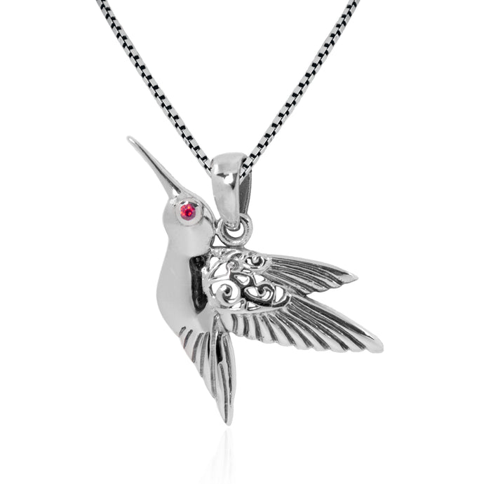Hummingbird Pendant with pink cubic zirconia set in 925 Sterling silver dangle drop pendant, beautiful pendant for woman - SUVARNASILVERCO.,LTD