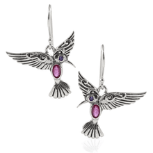 Load image into Gallery viewer, Flying Bird Earring with Genuine Gemstone and Cubic Zirconia set in 925 Sterling Silver