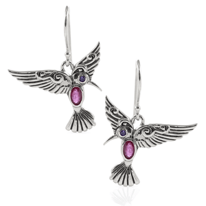 Flying Bird Earring with Genuine Gemstone and Cubic Zirconia set in 925 Sterling Silver