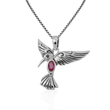 Load image into Gallery viewer, Flying bird pendant with genuine ruby and black cubic zirconia set in 925 sterling silver ,beautiful pendant for women - SUVARNASILVERCO.,LTD